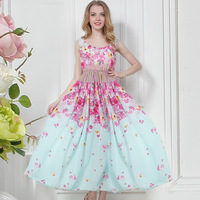 2014 Summer Women Bohemia Full Dress Flowers Pattern Chiffon One-Piece Sand Beach Dresses Free Shipping
