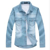 2014 spring and summer broadhurst american light blue casual denim shirt