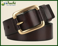 Classical Pure Copper buckle male strap genuine leather pin buckle genuine leather belt  casual belt