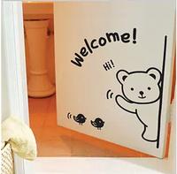 Free shipping Cute cartoon bear wall stick  Fridge Sticker Decorative stick of door