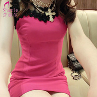 2014 female summer strapless perspectivity hip sexy slim lace sleeveless slim one-piece dress organza free shipping*