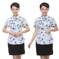 Summer waiter work wear short-sleeve work wear clothes short-sleeve male Women restaurants waitress uniform
