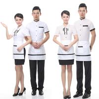 Summer work wear female and male short-sleeve waiter clothes uniform summer work wear in hotel Restaurant