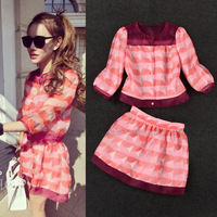 2014 summer women's clothing set crop top and skirt organza print short shirt+bust skirt twinset two pieces  (590016)