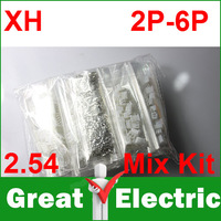 100sets/Lot  Mix Kit XH 2.54 2P-6P Connector Leads Header  Housing Pin header Terminal  Free Shipping CGKCH012