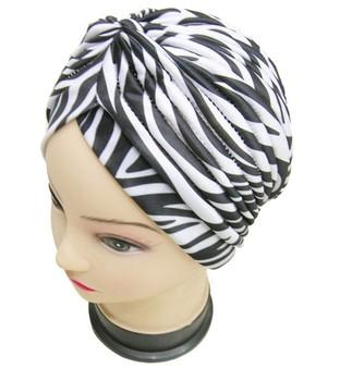 2014 Zebra Skin Turban Hat Cap Hijab Hairband Bandana Wrap Hair Fancy Indian Cap ...