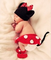 Cartoon red Mickey design  children kid Baby Infant knit hat +apron+pant+shoes set  Baby Photo Props Egnes clothing (5pcs/lot)