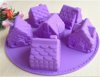 Free shipping 1PCS House Fondant Cake pan Silicone Mold Sugar craft Baking Pan Cake Decoration B006