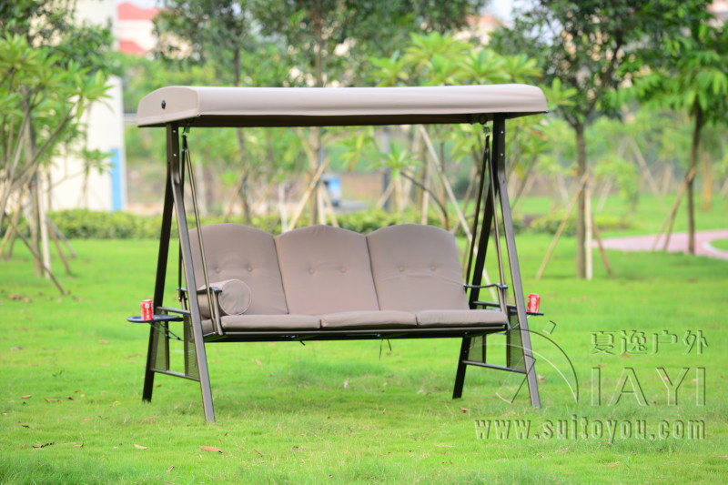 Deluxe outdoor hanging swing chair garden hammock patio furniture cover seat bench with canopy and cushion(China (Mainland))