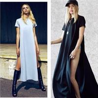 2014 Women Spring Sexy short Sleeve Slit Evening Long Dress Maxi Plus Size Irregular Loose Casual Dress for Women Summer Wear
