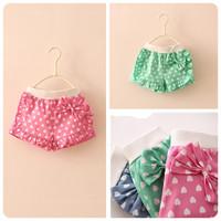 New 2014 Summer  baby &kids clothing girls fashion full love bow shorts 5pcs/lot