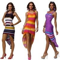 New 2014 fashion summer dress casual gradient dress women dress sleeveless  retro Irregular beach dress 4208