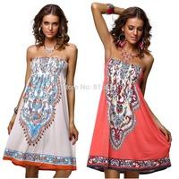 New 2014 fashion summer dress classic  Amoeba print women dress sleeveless knee-length retro  beach dress 4199