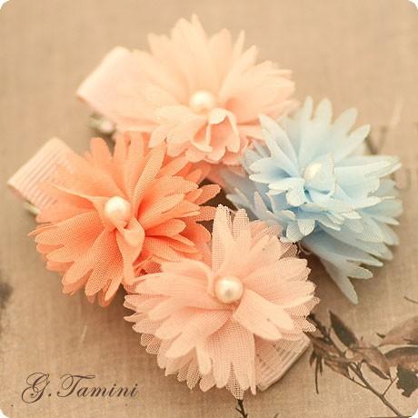 Das crianças duplo cor Chiffon tecido da flor da margarida verão grampo de cabelo do bebê flor com pérola grampo de cabelo(China (Mainland))