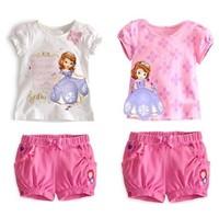 RETAIL summer Baby Girls clothing sets girl's Sofia princess Bow sets short-sleeve shirts+short Children's clothing sets