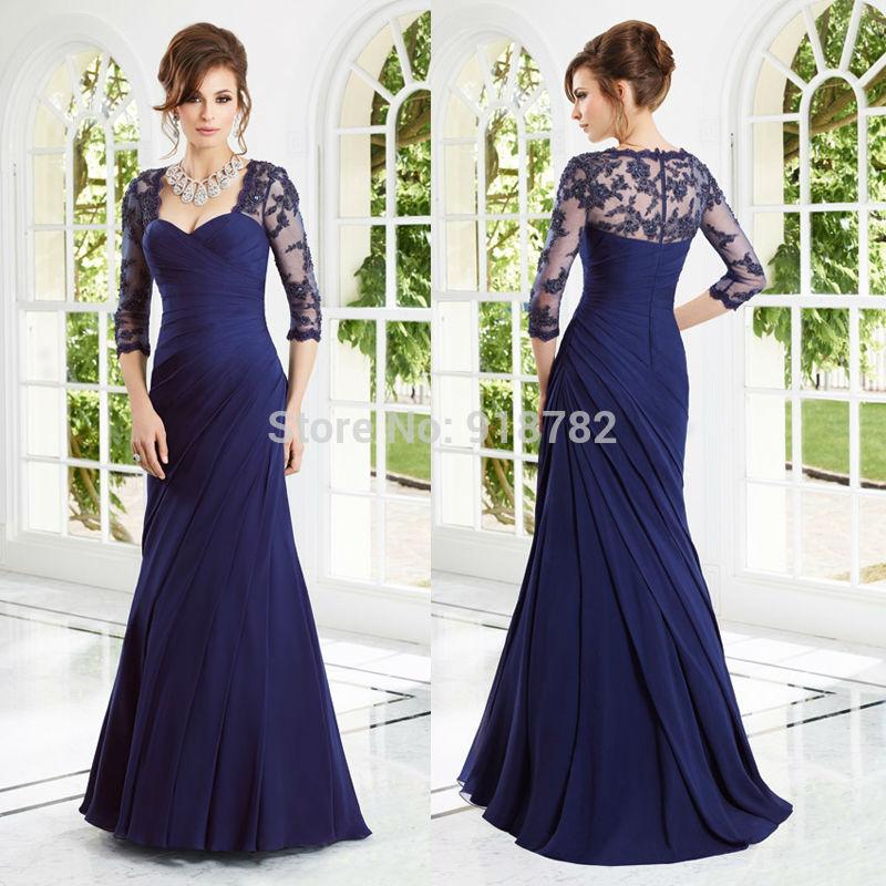L'arrivée de nouveaux 2014 mère de la mariée robes manches vestido de fête magnifique bleu perles dentelle sirène longue robe de soirée robes