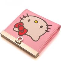 2014 Hot sale cartoon short wallet Hello kitty cluth wallets Women's cute billfold Children girl's money purse