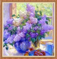 5D DIY Cross Stitch rhyme purple vase flower 3D diamond Painting Decorative Full Square embroidery Rhinestone painting 40 * 40CM