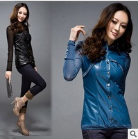Free Shipping, 2014 New Women's Short Design Washed Pu Leather Stitching Boutique Thin Diamond-sleeved Leather  PBZ51