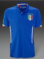 Italy Home Blue 2014 World Cup Thailand Quality Embroidery Soccer Jersey/ Uniform Shirt Sports Clothing Fans Version Kits