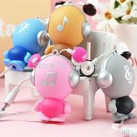 5pcs Robot Automatic Retractable Earphones Cartoon Music Earphones Charm in Ear Earphones, Free shipping