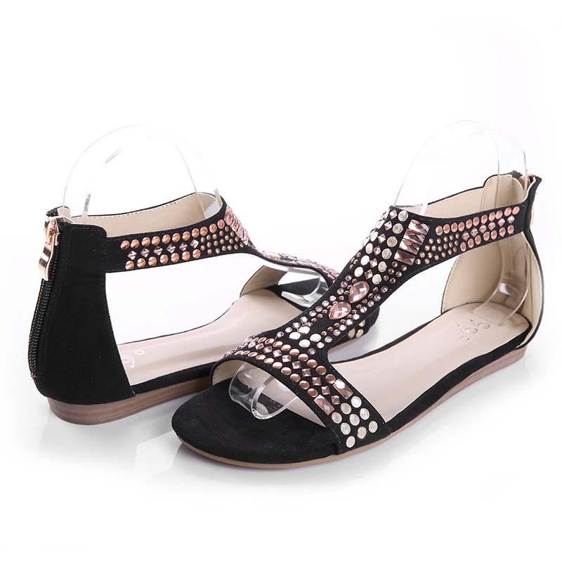 ( minet) 2014 primavera mulheres verão pu beautiful couro aberto- dedos strass apartamentos boho sandálias gladiador sapatos com pregos(China (Mainland))