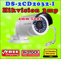 Free shipping Hikvision Original gun waterproof security network cctv  DS-2CD2032-I 4mm 3MP IR ip camera bullet mini support POE