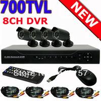 Home 700TVL 4CH CCTV Security Camera System 8CH DVR 700TVL Outdoor Day Night IR Camera DIY Kit Color Video  +Free shipping