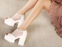 2014 New women High heels shoes Sexy gauze platform shoes Peep-toe sandals, (white color)Size 35~39 Free delivery