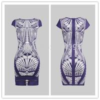 2014 women dress New arrival print zipper front elegant girl mini special brand club party Bandage Evening Celebrity Dress
