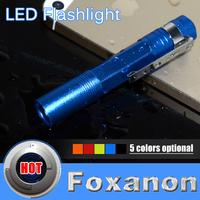 Foxanon Brand LED Flashlight CREE Mini LED Torch waterproof design Blue aluminium shell 3W 260LM High Quality lighting 1pcs