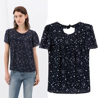CS0246 new arrival 2014 summer fashion cute blue Star Print short sleeve backless bow casual chiffon blouse women pullover  top