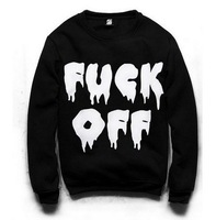 SW-039 women's turtleneck sweatshirts harajuku Fuck off print hoodies Black pullovers 2014 New free shipping