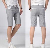 95% linen, 2014 new brand EuropeStyle men stripes suitable for leisure goods short summer leisure tourist shorts man fashion