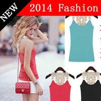 HOT SALE new 2014 fashion summer women top vest tank lace patchwork candy color spaghetti strap women's basic vest hollow 514W