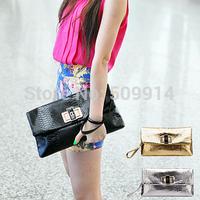 2014 Women's handbag fashion day clutch gold clutch envelope bag small crocodile pattern bags Free Shipping