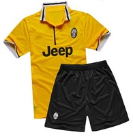23# VIDAL 2013/14 Juventus home black/white away yellow Soccer Football Jersey + shorts kits, best quality soccer uniforms