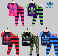 hot selling cotton kids boy and girl summer suit striped t-shirt + marine design pants 2pcs clothing set 4 colors
