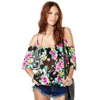 Spaghetti strap slit neckline perspectivity rose print loose chiffon shirt women 2014 summer blouse