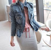 2014 Denim Outerwear Female Long Sleeved Short Epaulet Design Jacket Vintage Top Slim Women Coat 9861