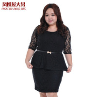 Plus size clothing lace set skirt mmol half sleeve clothes skirt twinset plus size plus size 553