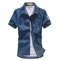 Man spring 2014 cotton denim summer short sleeve slim fit casual shirt mens dress shirts free shipping
