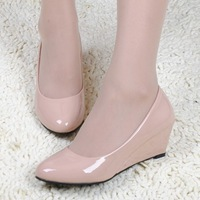 2014 spring and summer wedges shoes work shoes fashion wedges women's square mouth single shoes ol white collar formal shoes