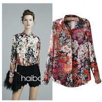 New 2014 spring and summer fashion European style Famous brand Chiffon Retro flowers shirt Spring Summer fall women lady 9005