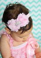 Newborn Baby Toddler Girl  Rhinestone Shabby Chic Flower Headband with Princess Crown Birthday Headband 5pcs/lot
