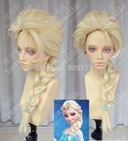 Frozen Snow Queen Elsa Princess Blonde Weaving Braid Cosplay Anime Wig Kanekalon Fiber no lace Hair All wigs free shipping