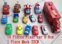 14pieces Pixar Car 6cm + 1 piece Mack truck 22cm