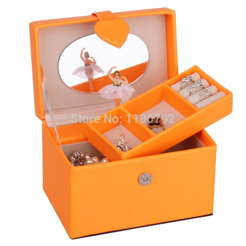 [ROWLING] ORANGE Musical Jewelry Box Beads Ring Bracelet Storage Box Organizer Children Gift Travel Case ZM001(China (Mainland))