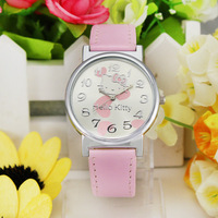 Free Shipping! Wholesale High Quality Hot Sale Leather Hello Kitty Watch Children Girl Dress Fashion Crystal Wrist Watch, KT25