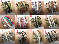 male female Bracelets & bangles Infinity Elephant Love manual multilayer bracelet and retro